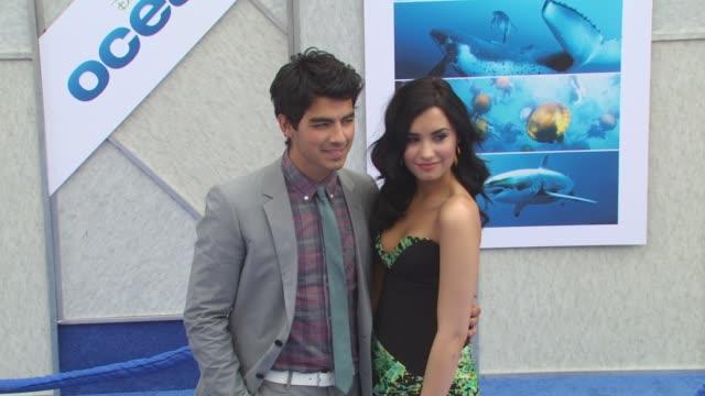 Joe Jonas Demi Lovato at the 'Oceans' Premiere at Hollywood CA