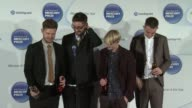 Joe Newman Gwil Sainsbury Thom Green Gus UngerHamilton of Alt J on how they will celebrate the victory at Barclaycard Mercury Music Prize 2012 at The...