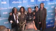 Joe Perry Steven Tyler Aerosmith at American Idol Season 11 Grand Finale Show Photo Room on 5/23/12 in Los Angeles CA