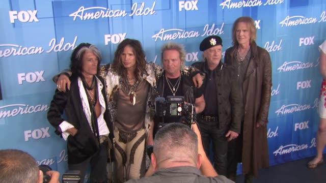 Joe Perry Steven Tyler Aerosmith at American Idol Season 11 Grand Finale Show Photo Room on 5/23/12 in Los Angeles CA