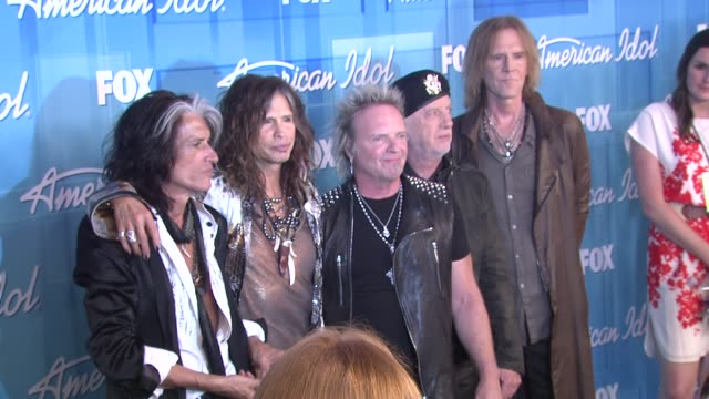 Joe Perry Steven Tyler and Aerosmith at American Idol Season 11 Grand Finale Show Photo Room on 5/23/12 in Los Angeles CA