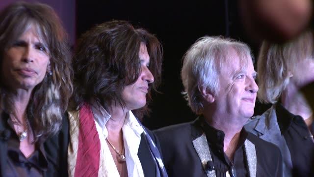 Joey Kramer Steven Tyler Joe Perry and Brad Whitford at the Aerosmith Launches New Guitar Hero at New York NY