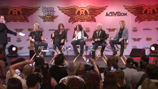 Joey Kramer Steven Tyler Joe Perry Brad Whitford and Tom Hamilton at the Aerosmith Launches New Guitar Hero at New York NY