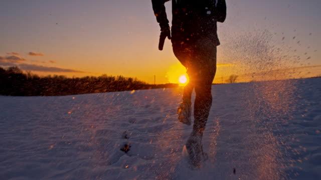 SLO MO Jogger Jogging In The Snow