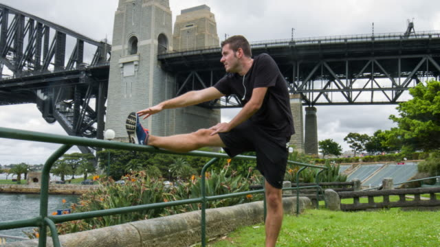 Jogger stretching in Sydney