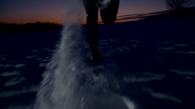 SLO MO Jogging In The Snow At Night
