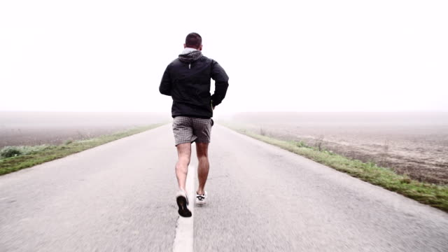 SLO MO Jogging On A Country Road
