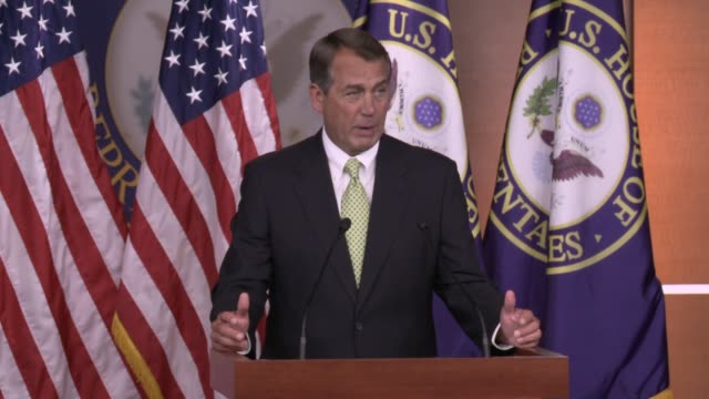 John Boehner Speaker of the House of Representatives John Boehner on possible government shutdown at Studio US House of Representatives US Capitol on...