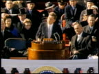 John F Kennedy giving inaugural speech after being sworn in / Washington District of Columbia United States