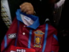Birmingham CMS John Fashanu with Ron Atkinson holding Aston Villa shirt at photocall