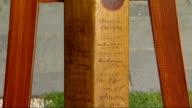 John Howard attends opening of Cricket Hall of Fame Museum ENGLAND London EXT Michael Ball describes signatures on antique Sir Donald Bradman bat...