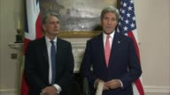 John Kerry and Philip Hammond press conference Kerry press conference SOT Syrian issue / Yeman and Libya / refugee issue / Ukraine Minsk agreement /...