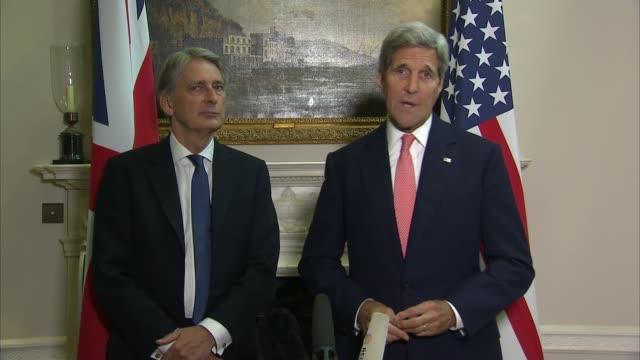John Kerry and Philip Hammond press conference Kerry press conference SOT Syrian issue / Yeman and Libya / refugee issue / Ukraine Minsk agreement /...