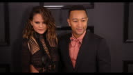 John Legend and Chrissy Teigen at the 59th Annual Grammy Awards Arrivals at Staples Center on February 12 2017 in Los Angeles California 4K