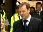 John Leslie cleared of sexual assault charges ITN London Southwark Crown Court Presenter John Leslie towards from court with girlfriend Abby Titmuss...