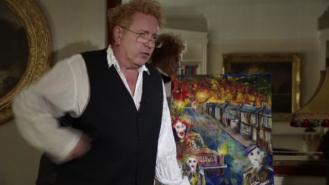 John Lydon artworks / interview Looking at postcards / various shots of artwork