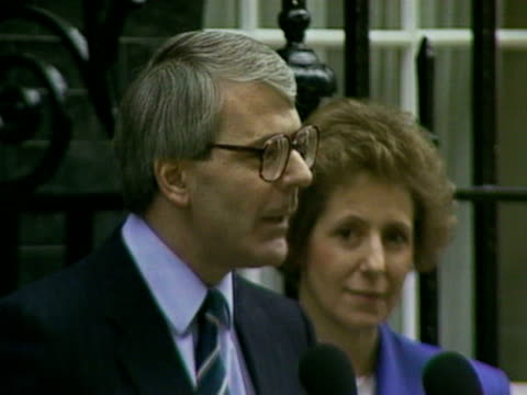 John Major gives a speech outside Ten Downing Street setting out his goals on becoming the new Prime Minister 28 Nov 1990
