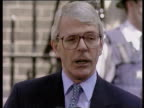 John Major makes speech congratulating Tony Blair outside No10 Downing Street after Labour Party election victory London 02 May 1997