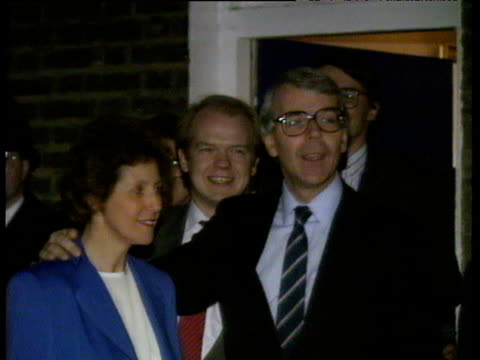 John Major with team at party headquarters with wife Norma William Hague in background Major's Accession to Prime Ministership 27 Nov 90