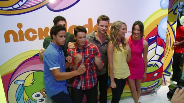 John Mark Loudermilk Andrew Gray Cameron Jebo Ciara Hanna Christina Masterson and Azim Rizk of Saban''s Power Rangers Super Megaforce at ComicCon...