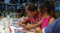 John Mark Loudermilk Andrew Gray Cameron Jebo Ciara Hanna Christina Masterson and Azim Rizk of Saban''s Power Rangers Super Megaforce at ComicCon...