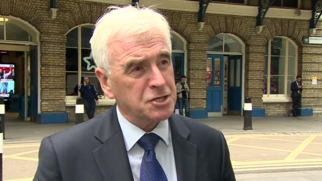 London Fenchurch Street EXT John McDonnell MP interview SOT