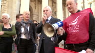 John McDonnell speaking at a demonstration in London