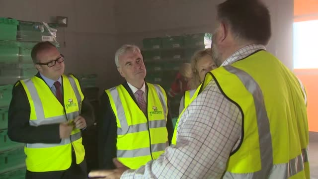 John McDonnell visits Puffin Produce Ltd in Wales John McDonnell MP arriving / wearing hivis jacket and along on tour GVs John McDonnell visiting...