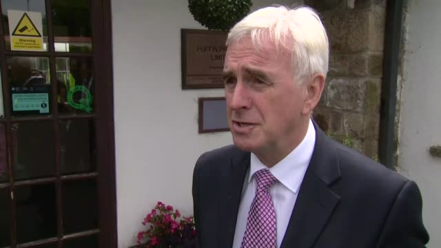 John McDonnell visits Puffin Produce Ltd in Wales WALES Haverfordwest EXT John McDonnell MP interview SOT re GDP figures Labour's Brexit policy