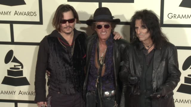 Johnny Depp Joe Perry and Alice Cooper at 58th Annual GRAMMY Awards® Arrivals at Staples Center on February 15 2016 in Los Angeles California