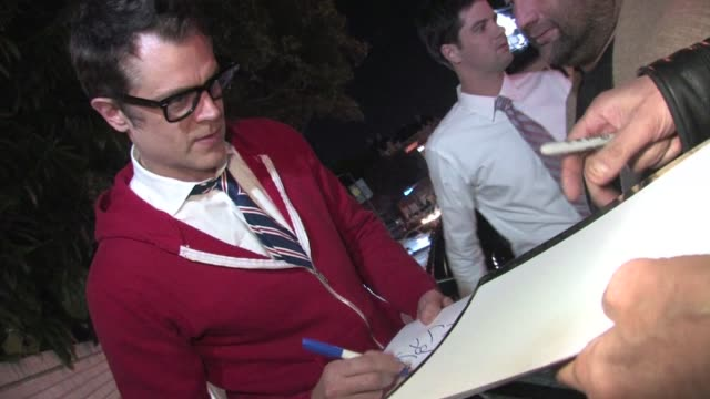 Johnny Knoxville greets fans at Chateau Marmont in West Hollywood 01/28/12 in Celebrity Sightings in Los Angeles