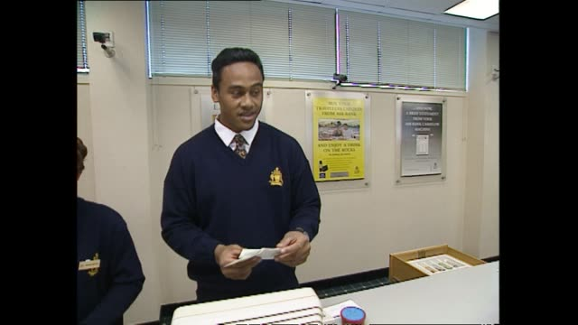 Jonah Lomu working as a bank clerk on the week he was selected to play in the New Zealand All Blacks rugby team in 1994
