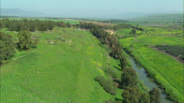AERIAL Jordan River in Upper Galilee / Israel