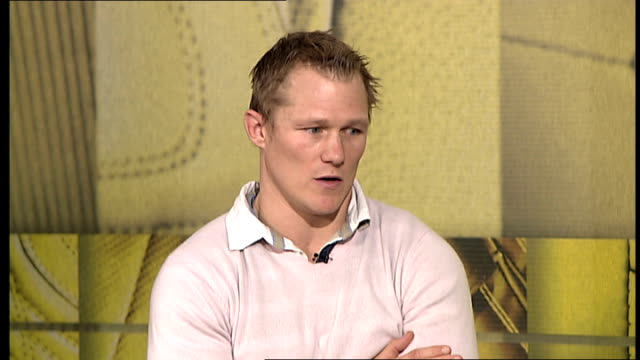 Josh Lewsey interview Lewsey interview SOT Talks about his injury in 2003 World Cup / Managed to get fit for semifinal and England ended up winning...