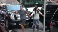 Josh Murray and Andi Dorfman arrive at the Good Morning America show Celebrity Sightings in New York on July 29 2014 in New York City