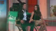 Josh Murray and Andi Dorfman being interviewed on the Good Morning America show Celebrity Sightings in New York on July 29 2014 in New York City