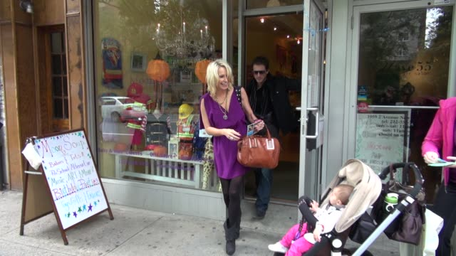 Josie Bissett boyfriend leaving MoonSoup in New York on 10/24/11