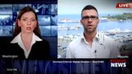 Giornalista Reporting Live In TV le notizie