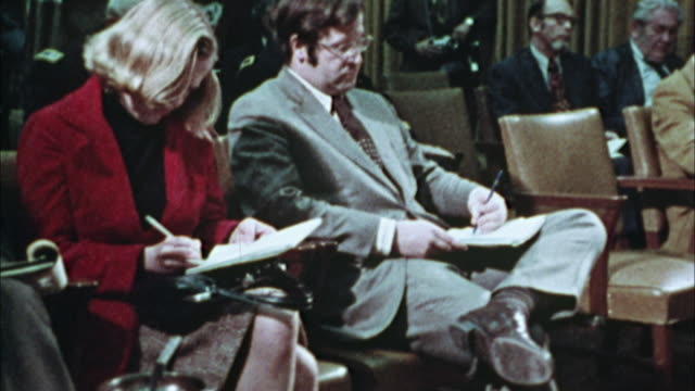 MS, Journalists at press conference in city hall, 1970's, Los Angeles, California, USA