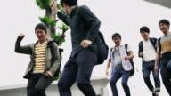 MS Joyful Japanese students leaving the school