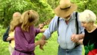 Joyful Seniors Dancing in Nature