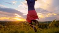 SLO MO Joyful Woman jumping