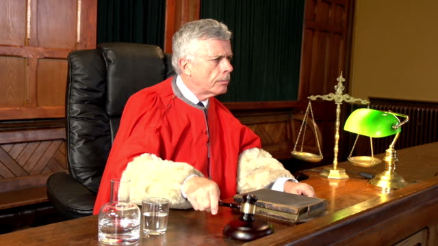 Judge in Court, Red Robe using Gavel, Two Shots (Courtroom)