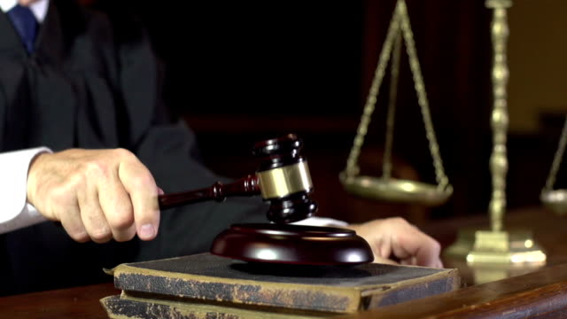 Judge in Court using Gavel - Super Slow Motion