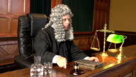 Judge with Wig in Court using Gavel - Two Shots