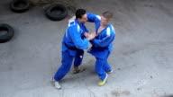Judo in blue kimono