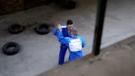 Judo training outdoors