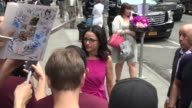 Julia LouisDreyfus signs for and poses for photos with fans outside the Good Morning America show Celebrity Sightings in New York on July 31 2014 in...