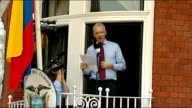 Julian Assange addresses supporters from balcony of Ecuadorian Embassy Speech ENGLAND London Knightsbridge Hans Crescent EXT Julian Assange speech...