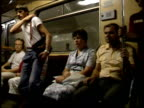 July 2 1987 PAN Passengers riding on subway train / Moscow Russia